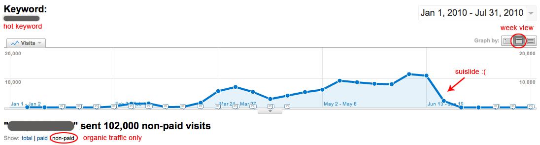 Keyword Visits in Google Analytics