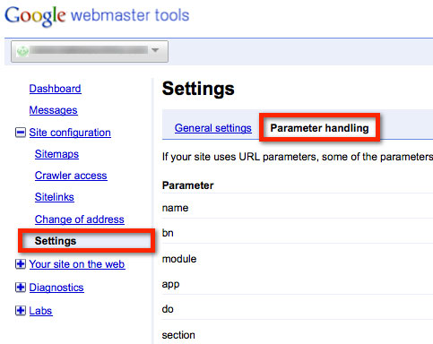 Google Webmaster Tools parameter handling