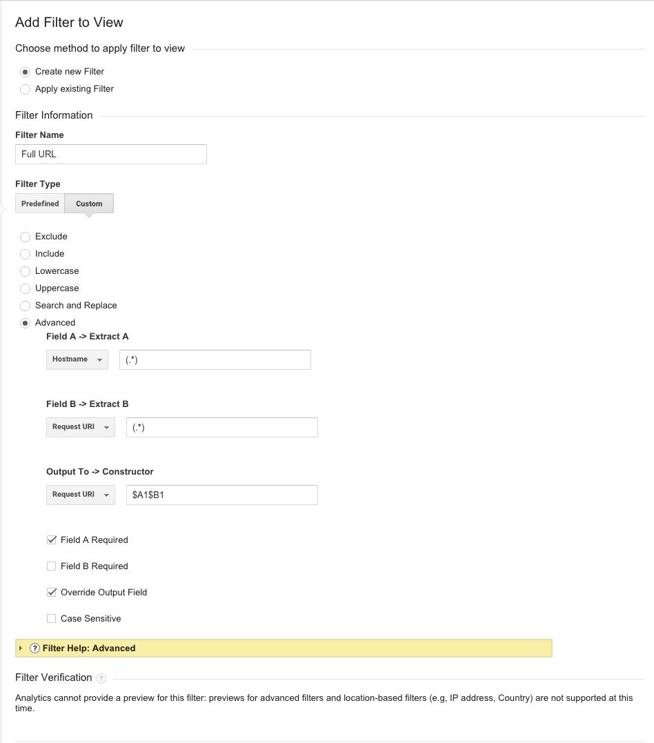hostname filter in Google Analytics