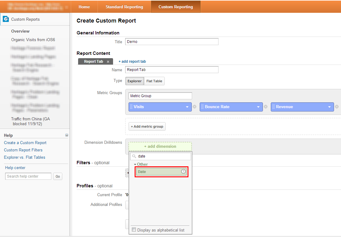 date dimension in Google Analytics