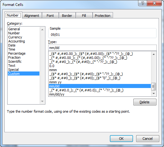 format cells in Excel
