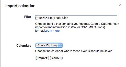 import gcal with Google algorithm updates
