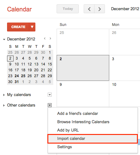 import a calendar into GCal