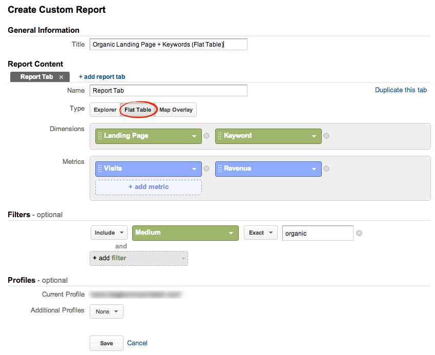 Google Analytics flat table