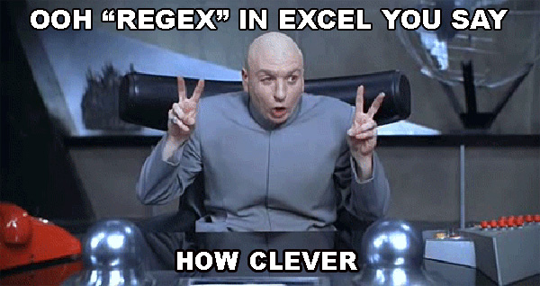 advanced filters in Excel as alternative to regex