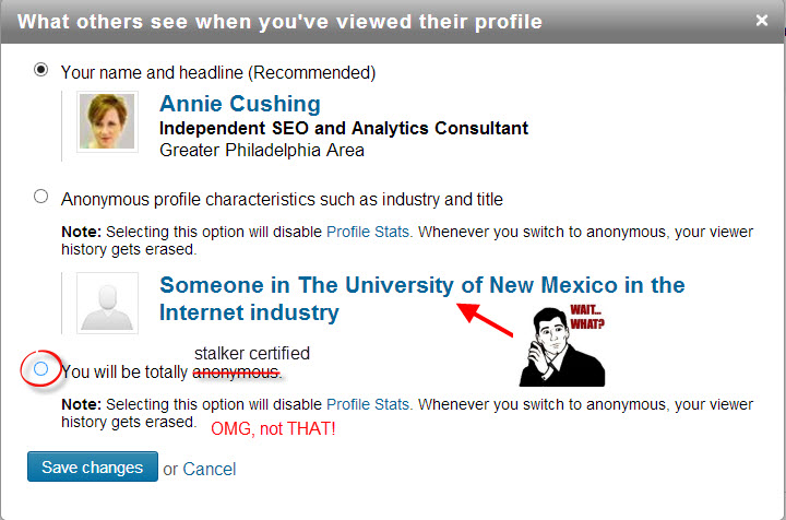 how to stalk on LinkedIn