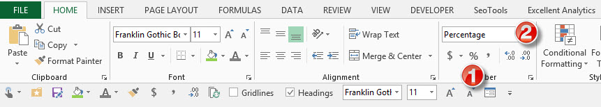 format percentages in Excel