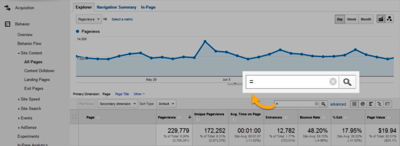 Google Analytics report filter