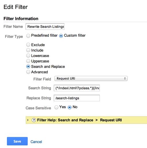 Google Analytics rewrite filter