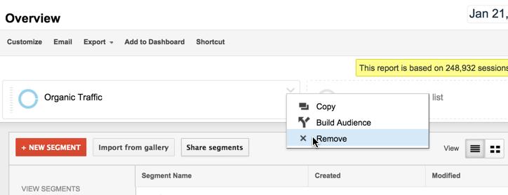 remove advanced segment in Google Analytics