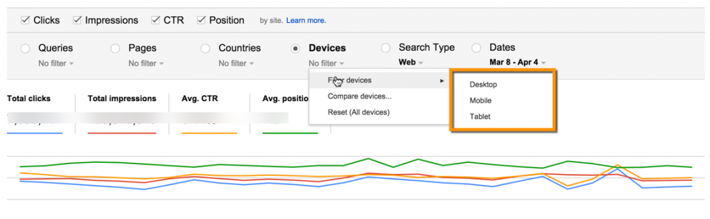 Google Webmaster Tools Search Analytics report device type filter