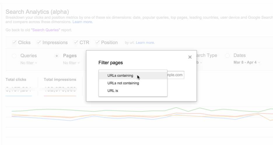 Google Webmaster Tools Search Analytics report URL filter