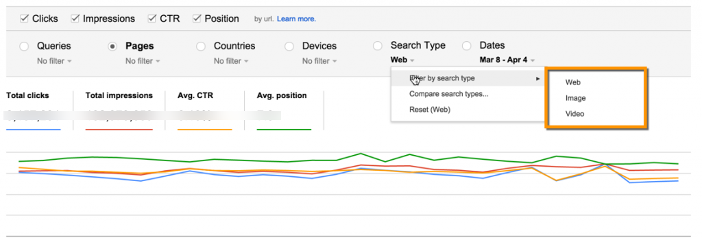 Google Webmaster Tools Search Analytics report search type filter