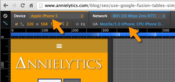 mobile user agent in Chrome Mobile Emulation tools - Chrome Developer Tools