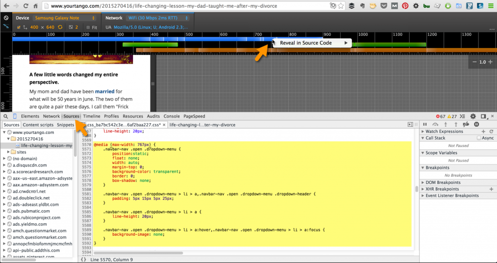 preview media queries in Chrome Developer Tools' Sources tab
