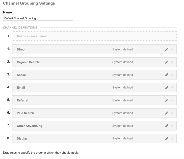 Default channel group settings virginal