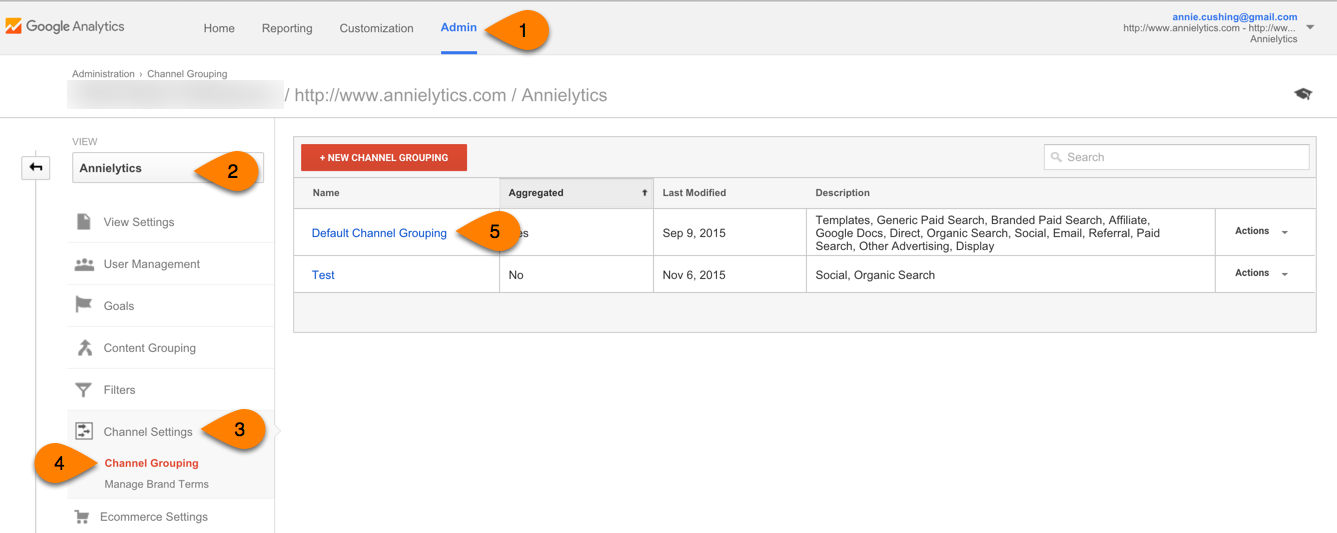 Google Analytics channel grouping settings