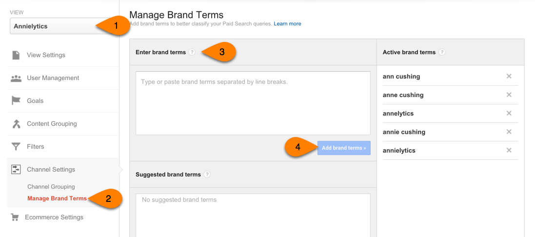 manage brand terms in Google Analytics