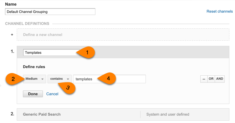new channel setup in Google Analytics