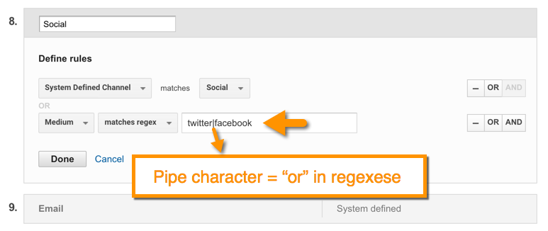 regex with Google Analytics custom channel definitions