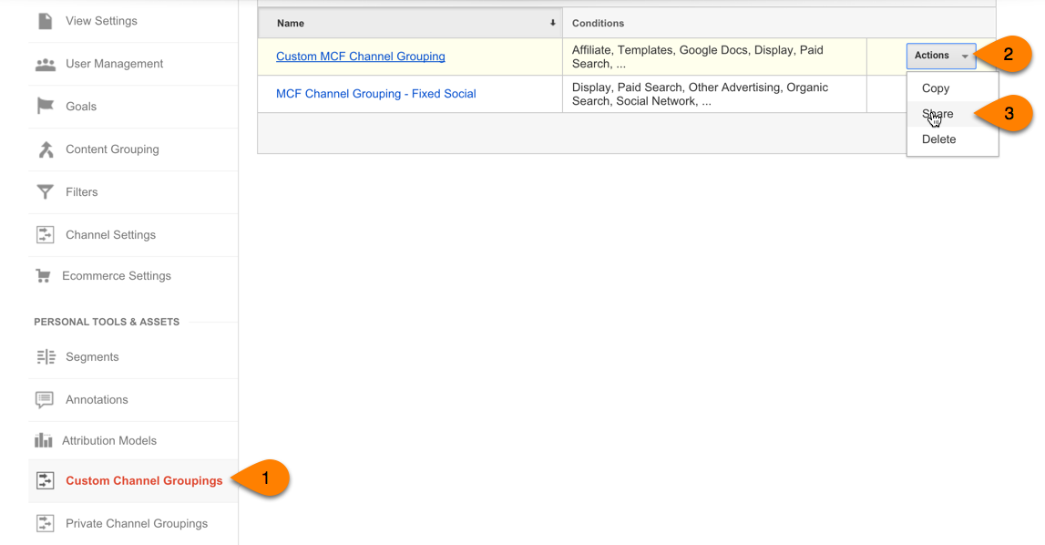 share google analytics custom channels