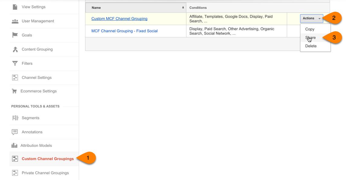 share google analytics custom channels