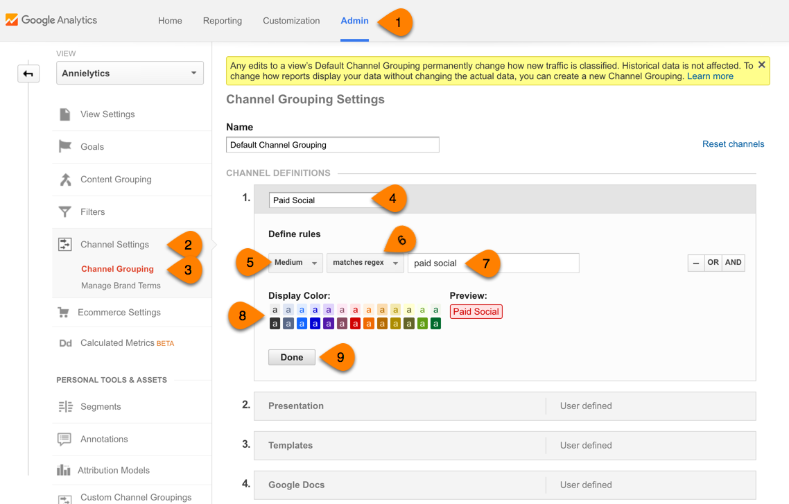 create Paid Social channel in Google Analytics