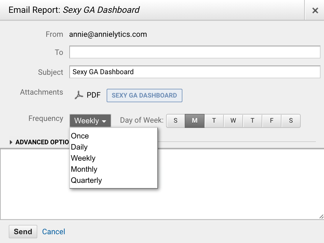 Google Analytics dashboard sharing via email