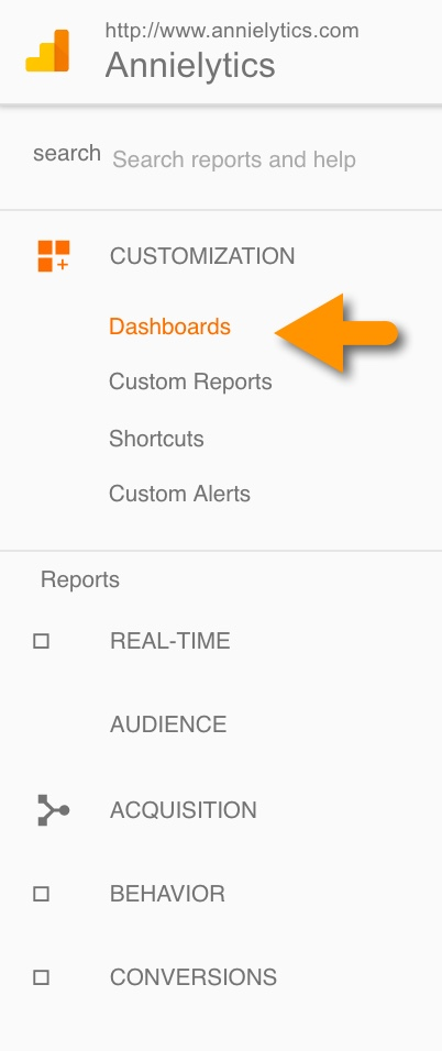 Google Analytics dashboards menu