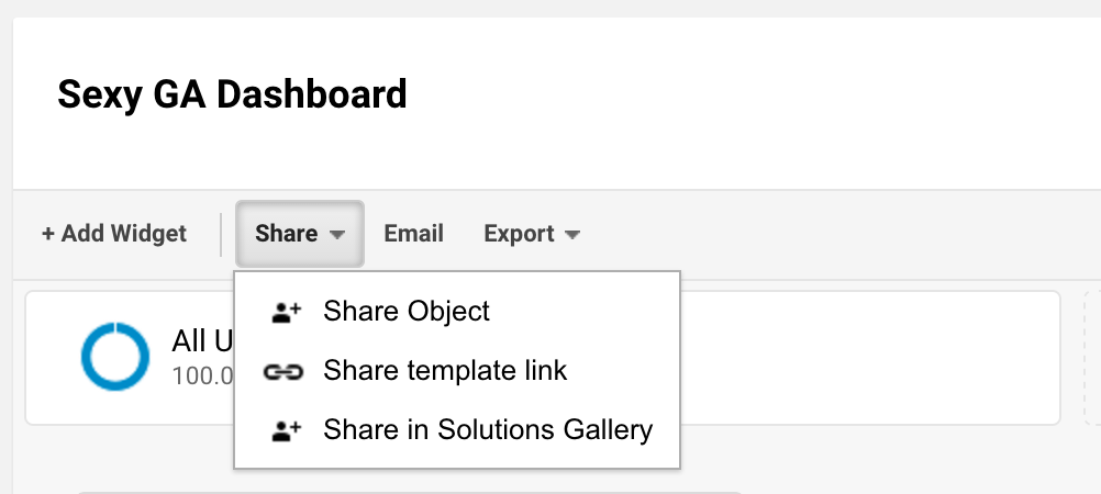 Google Analytics dashboard sharing