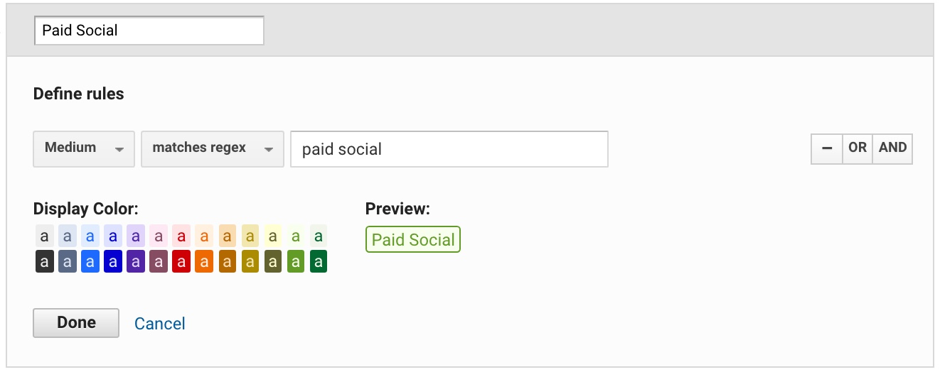 custom paid social channel in Google Analytics
